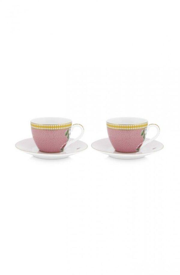 PIP Set/2 Espresso Cups & Saucers La Majorelle Pink 120ml