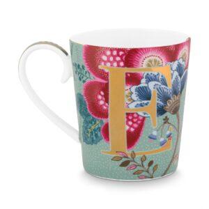 Alphabet Mug Floral Fantasy Light Blue E