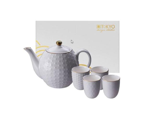 Nippon White Teaset 1,3L + 4 cups, giftbox