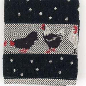 Kitchen Towel Bunzlau Chickens 53x60cm, black