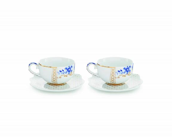 set/2 espresso cups & saucers royam white 125ml