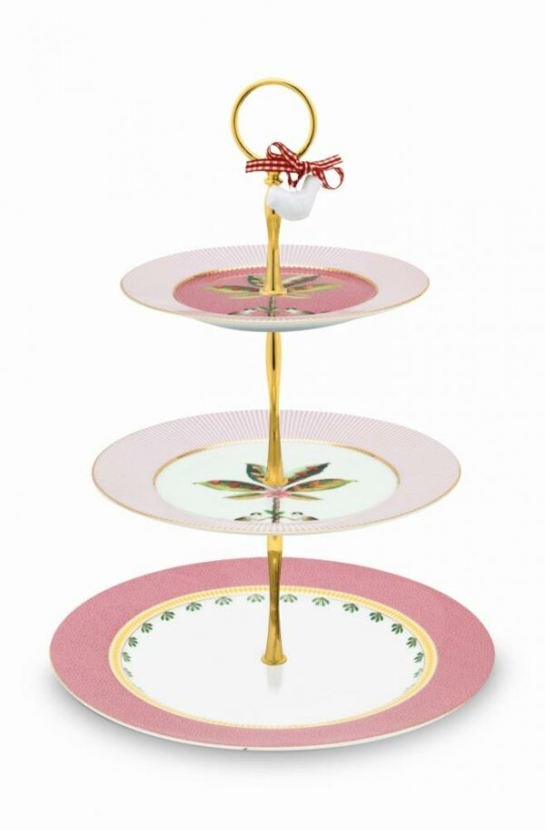 Cake Stand 3/Layers La Majorelle Pink 17-21-26.5cm PIP