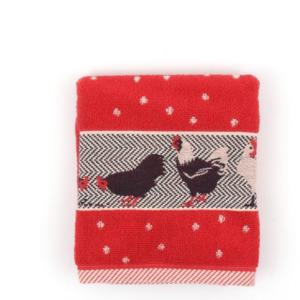 Kitchen Towel Bunzlau Chickens 53x60cm, red