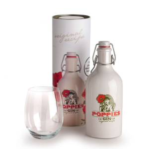 Poppies Gin Rubbens 40° 50 cl (cilinder+glas)