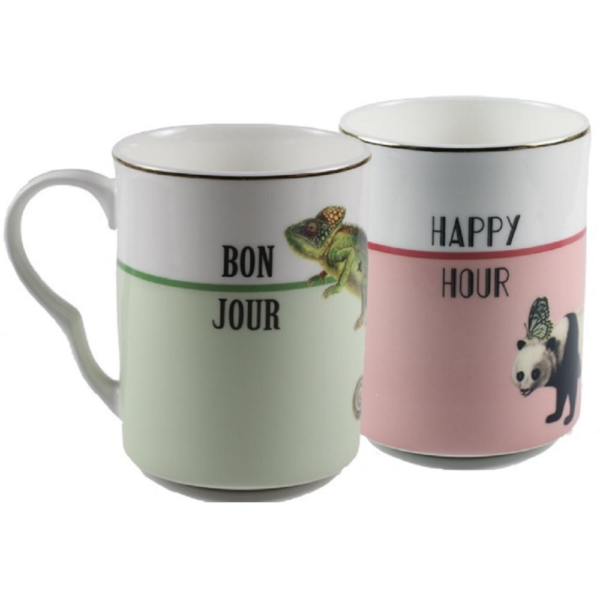 Yvonne Ellen Set/2 Mugs 375ml, Bonjour & Happy Hour, giftbox