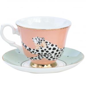 Yvonne Ellen Teacup & saucer 250ml, Safari Cheetah, giftbox