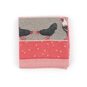 Tea Towel Bunzlau Chickens 65x65cm, red