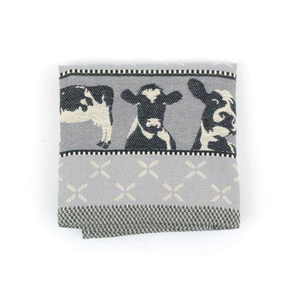 Tea Towel Bunzlau Cows 65x65cm, grey