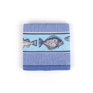 Tea Towel Bunzlau Fish 65x65cm, blue