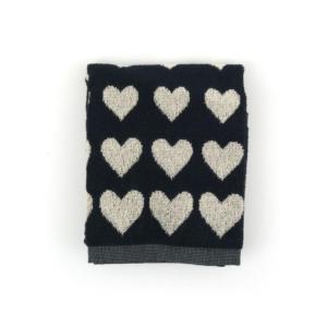 Kitchen Towel Bunzlau Hearts 53x60cm, black