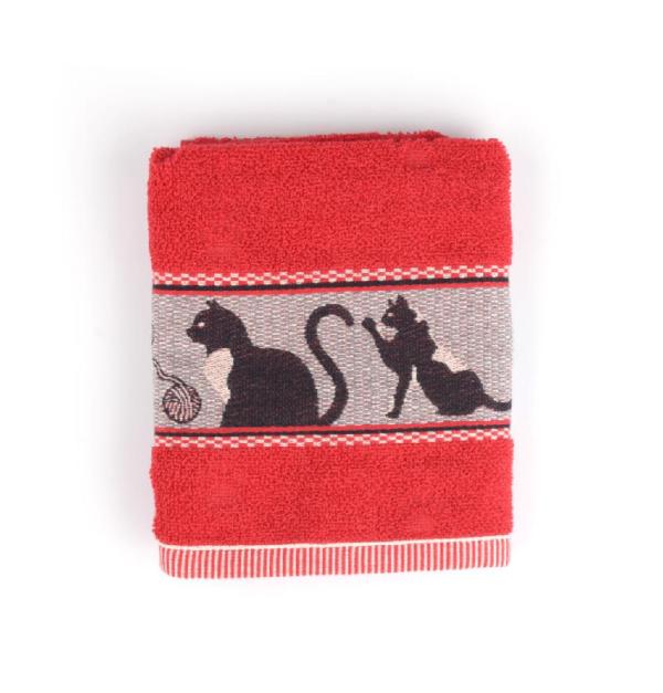 Kitchen Towel Bunzlau Cats 53x60cm, red