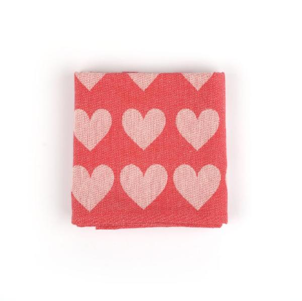 Tea Towel Bunzlau Hearts 65x65cm, red
