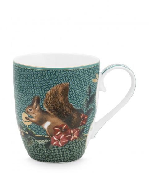 Mug Large Winter Wonderland Squirrel Green 350ml