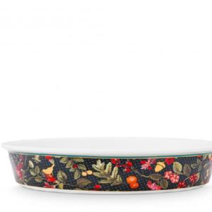 Baking Dish Round Winter Wonderland Overall Dark Blue 25.5x5cm /1