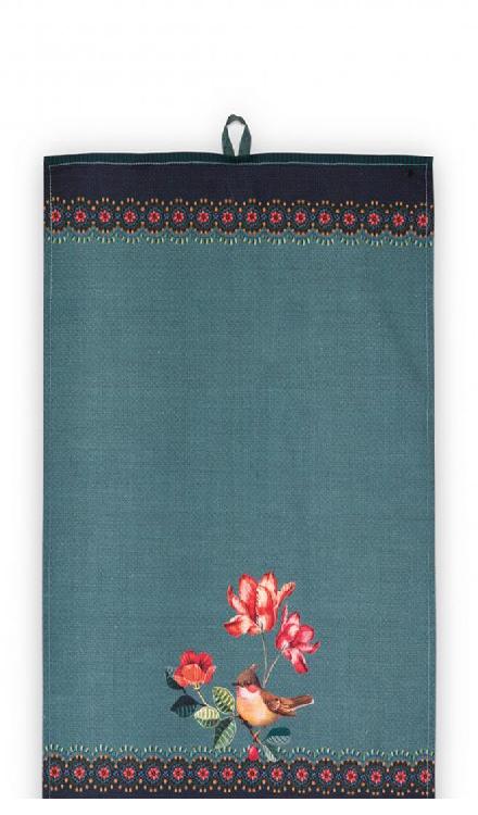 Tea Towel Winter Wonderland Bird Green 50x70cm