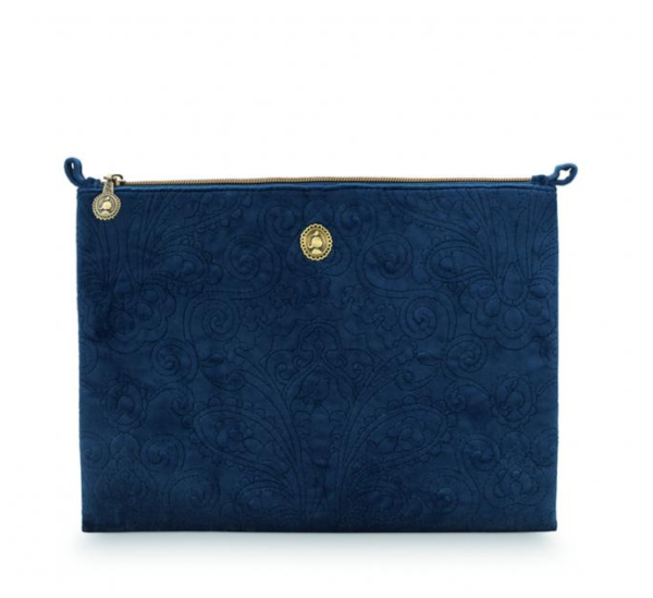Cosmetic Flat Pouch Large Quilted Dark Blue