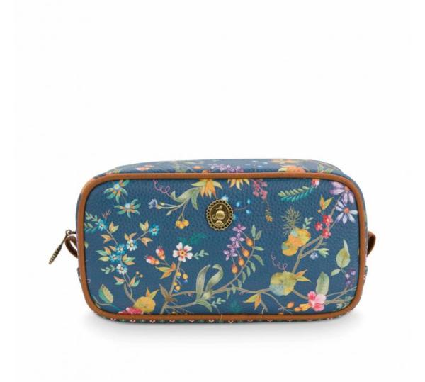 Cosmetic Bag Square Small Petites Fleurs Dark Blue
