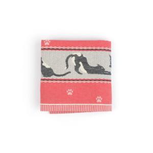 Tea Towel Bunzlau Cats 65x65cm, red