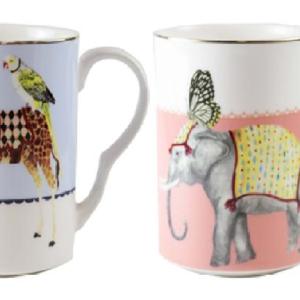 Yvonne Ellen Set/2 Mugs 375ml, Carnival Elephant & Giraffe, giftbox /1