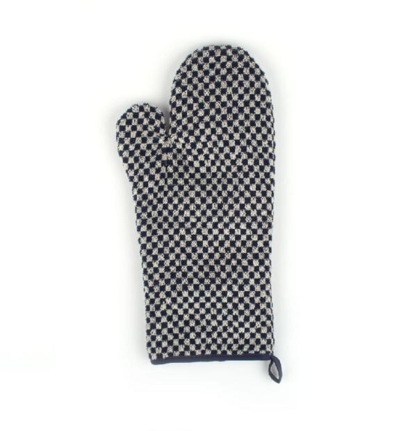 Oven Glove Bunzlau Small Check 37x20cm, blue