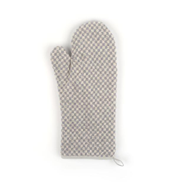 Oven Glove Bunzlau Small Check 37x20cm, grey