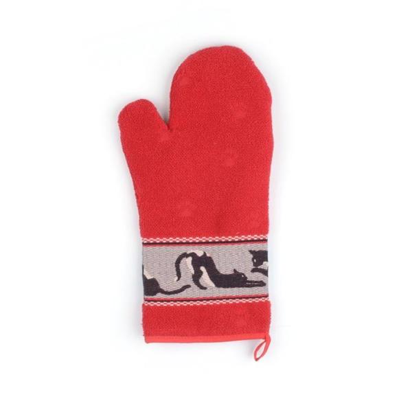 Oven Glove Bunzlau Cats 37x20cm, red