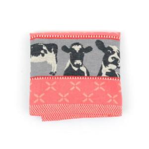 Tea Towel Bunzlau Cows 65x65cm, red