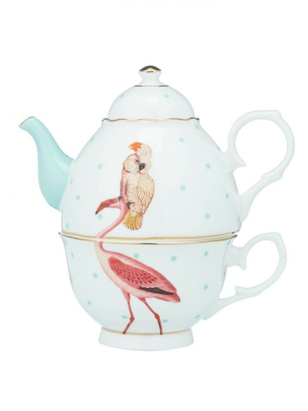 Yvonne Ellen Tea for One 900ml, Flamingo & Parrot, giftbox