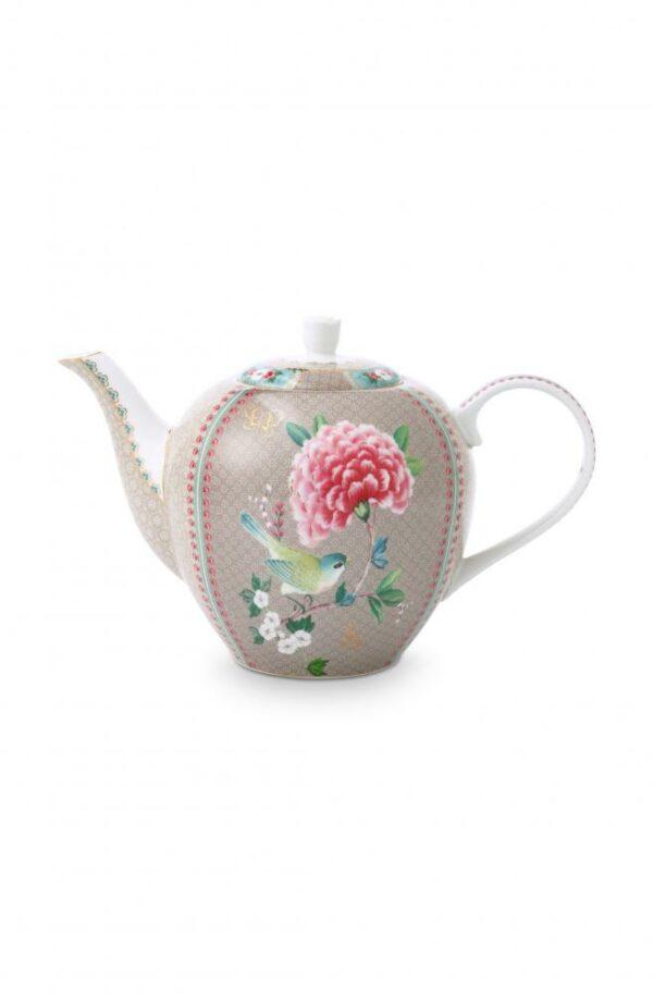 Tea Pot Large Blushing Birds Khaki 1.6ltr PIP