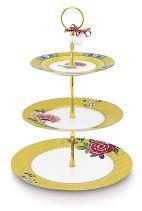 Cake Stand 3 Laags Blushing Birds Yellow