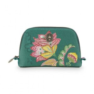 Cosmetic Bag Triangle Small Jambo Flower Green
