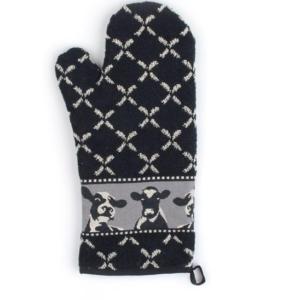 Oven Glove Bunzlau Cows 37x20cm, black