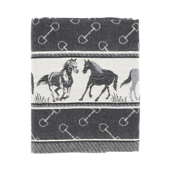 Tea Towel Bunzlau Horse 65x65cm, black